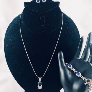 Silver and blue lapis pendent, bracelet, earrings.